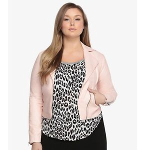 Torrid powder pink leather moto jacket NWOT